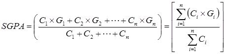 SGPA = (C1×G1 + C2×G2 + C3×G3 + … + Cn×Gn) / (C1 + C2 + C3 + … + Cn) = Σ(Ci×Gi) / ΣCi